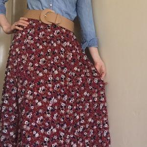 Vintage Sag Harbor button front red floral skirt